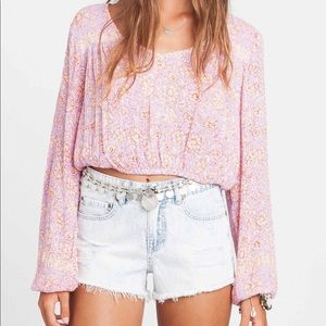 FOREVER SUN PRINT CROPPED TOP BLOUSE